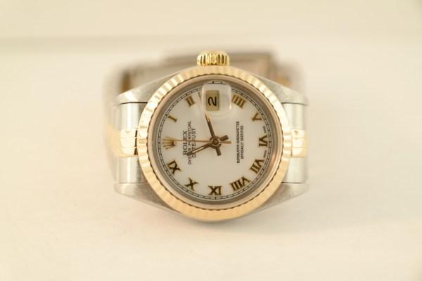 Ladies Rolex Datejust 69173 Two-Tone White Roman Dial