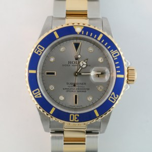 Rolex Submariner 16613 Serti Slate Dial Two-Tone