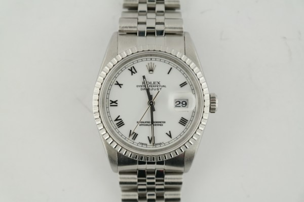 Rolex Datejust 16220 White Roman Dial Engine Turned Bezel Jubilee Band