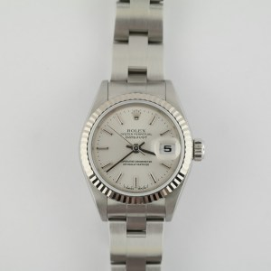 Ladies Rolex Datejust 79174 Stainless Steel White Gold Fluted Bezel Stick Dial