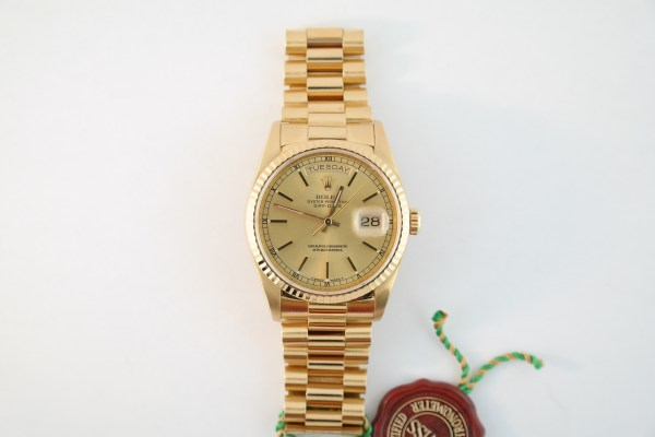 Rolex Day-Date 18238 President Champagne Stick Dial Year 1991