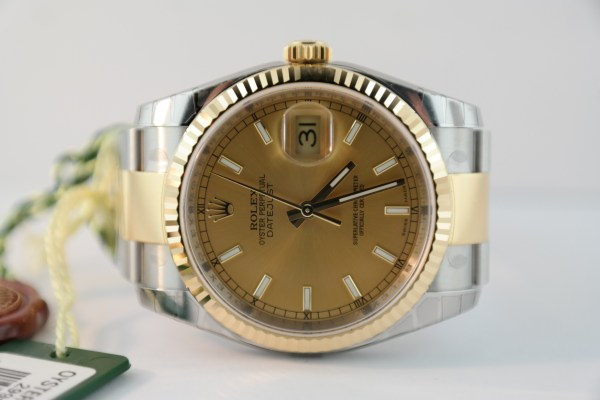 Men's Rolex Datejust 116233 Champagne Dial Two-Tone Oyster Band NEW 2015