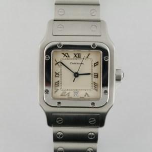 Cartier Santos Galbee 987901 Cream Roman Dial Stainless Steel 29mm Quartz