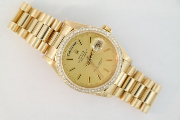 Men's Rolex Day-Date 18038 Diamond Bezel President 18K Yellow Gold Circa 1981