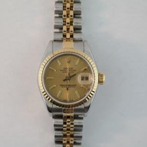 Ladies Rolex Datejust 79173 Champagne Stick Dial Two-Tone Jubilee Band Year 2002
