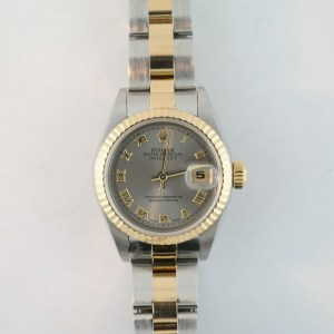 Ladies Rolex Datejust 69173 Slate Gray Roman Dial Two-Tone Oyster Band Year 1997
