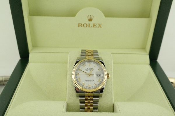 Men's Rolex Datejust 116233 White Roman Dial Jubilee Band Box & Papers Year 2013