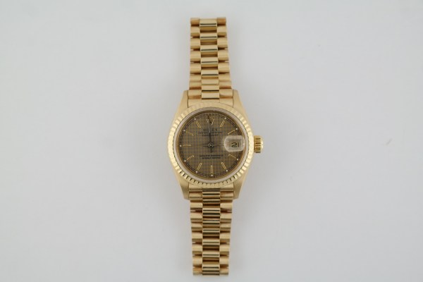Ladies Rolex Datejust 69178 Houndstooth Dial President 18K Yellow Gold Year 1989