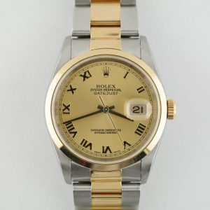 Rolex Datejust 16203 Champagne Roman Dial Two-Tone Oyster Band Smooth Bezel