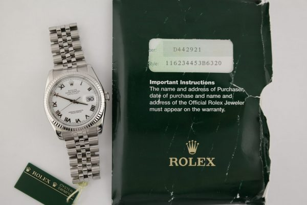 Rolex Datejust 116234 White Roman Dial Jubilee Band 36mm Box & Papers Year 2006