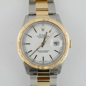 Rolex Datejust 16263 Thunderbird Bezel Two-Tone White Dial Oyster Band Year 1998