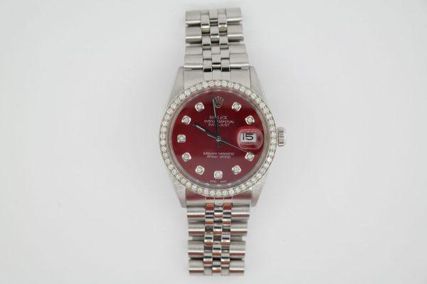 Rolex Datejust 16014 Red Diamond Dial & Diamond Bezel Jubilee Band Year 1985