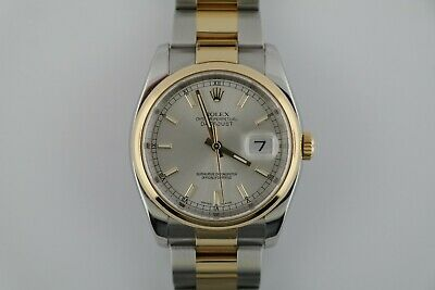 Rolex Datejust 116203 Two-Tone Silver Index Smooth Bezel Oyster Band