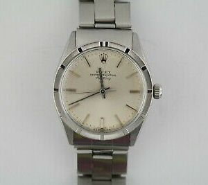 Rolex Air-King 1002 Silver Stick Dial Oyster Rivet Band