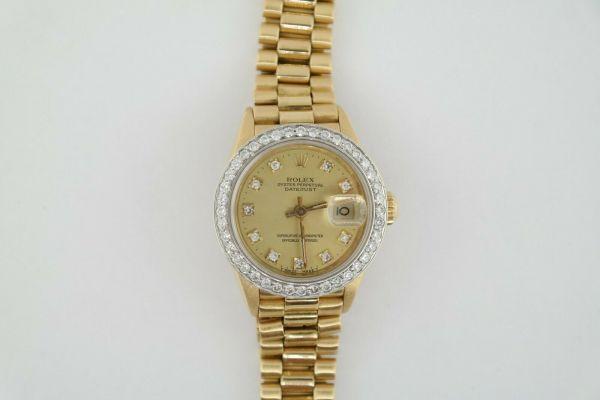 Ladies Rolex Datejust 69178 President Champagne Diamond Dial & Bezel