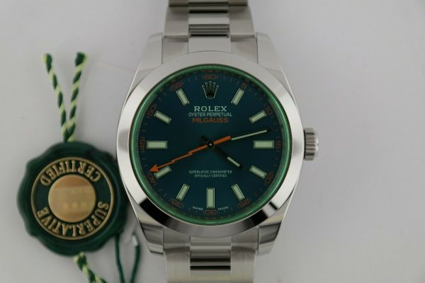 Rolex Milgauss 116400GV Z-Blue Dial Green Crystal 40mm Oyster Band