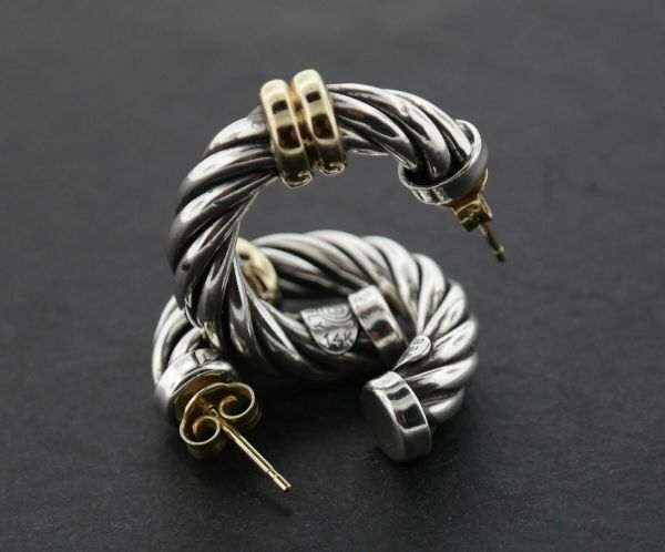 Sterling Silver Vintage Designer B Rope Style 14k Accent Rings DY Inspired Earrings