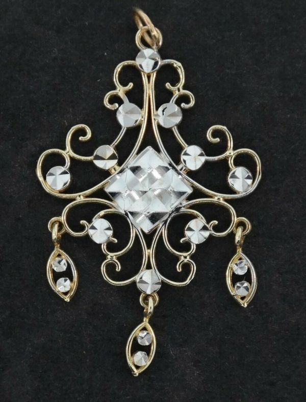 14K Yellow & White Gold Chandelier Fretwork Art Design Diamond Cut Pendant