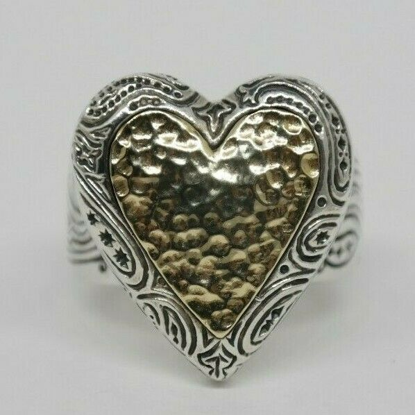 Heavy Large 14k and Sterling Silver Heart Ring Size 8