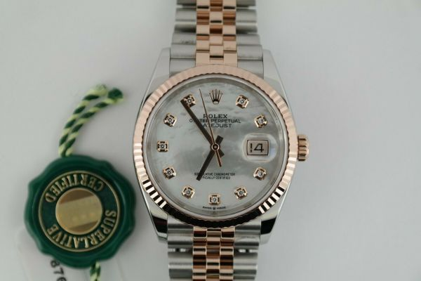 Rolex Datejust 126231 Mother of Pearl Diamond Dial Jubilee Band Two-Tone Everose Year 2018