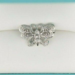 14K White Gold Filagree & Diamond Butterfly Brooch