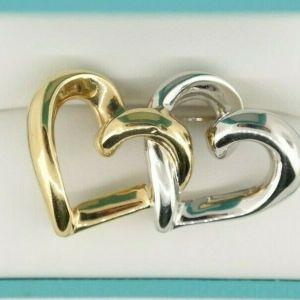 18K Two-Tone Interlocking Heart Brooch