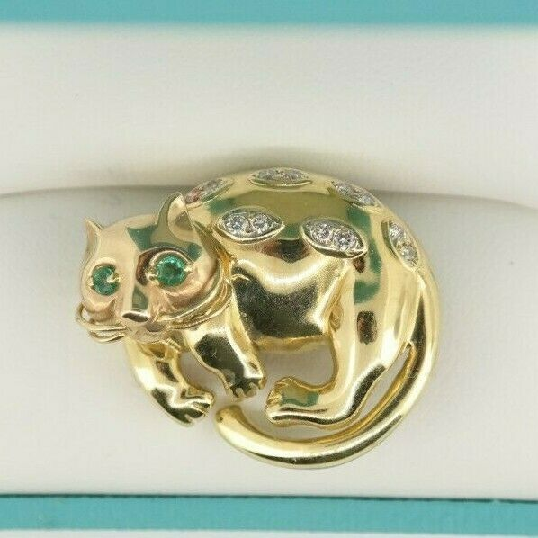 14K Yellow Gold Cat Brooch with Emeralds Eyes & Diamonds