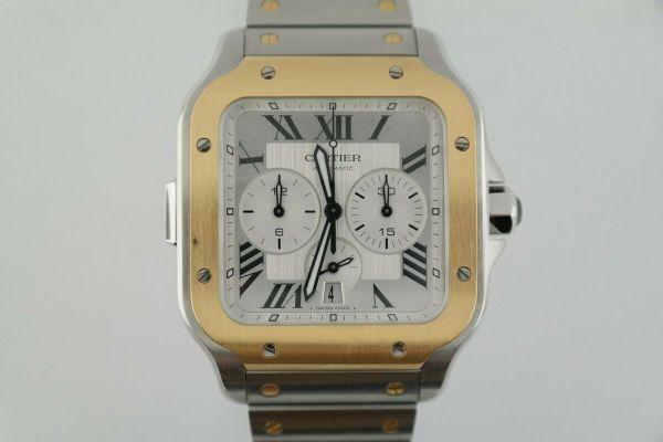 Cartier Santos de Cartier W2SA0008 Two-Tone Chronograph 43mm Silver Roman Dial