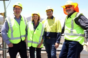 A RENEWABLE FUTURE: Queensland Senator and Assistant Minister to the Prime Minister James McGrath, LNP Candidate for Cook Penny Johnson, MSF Sugar Tableland Mill Green Energy Power Plant Project Manager Mark Magnanini and Tableland Mill Acting Manager Kirk Lang.