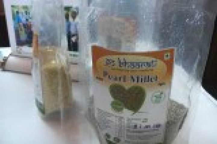Pearl grains of millets in clear packaging