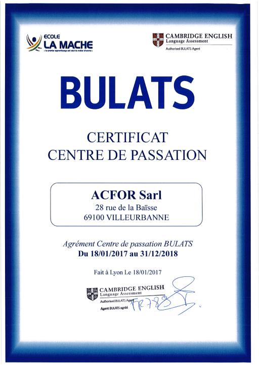 ACFOR Formation - Centre Certifié de passation du BULATS