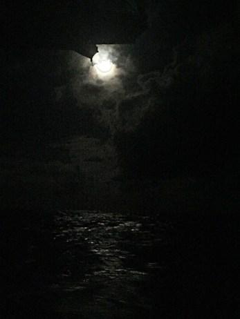 night view, half moon