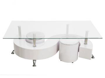 table basse symphonie deux poufs blanc