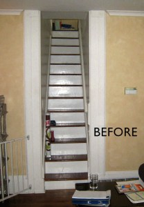 photo of steep very narrow straight staircase leading to second floor prior to replacement with new open staircase by Acheson Builders
