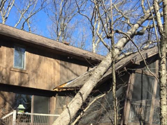 photo of fallen tree having smashed roof of exterior of enclosed porch prior to restoration by Acheson Builders