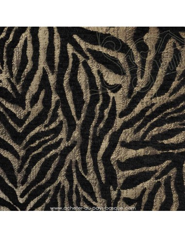 tissu velours jacquard thevenon tigre noir et argent