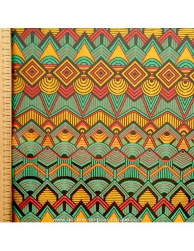 tissu 100 polyester bogolan vert rouge et jaune