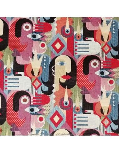 tissu jacquard style cubisme visage picasso