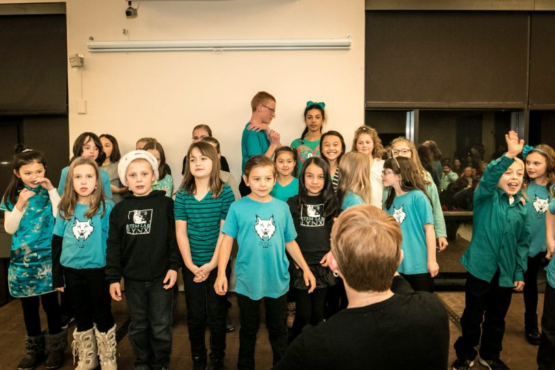 STEM Lab in Northglenn Colorado at the holiday music concert for A Child's Song and partner STEM schools at the Westmister Rec Center Community Room, as part of Colorado Gives Day 2016 and our Music Outreach Program.