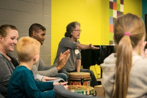 Our quarterly drum circle. Drum lessons for children.