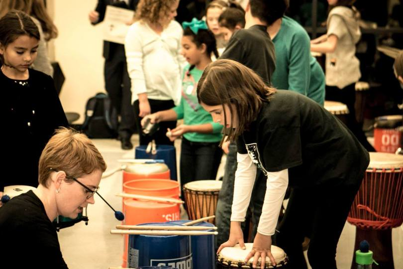 STEM school percussion performance at A Child's Song Holiday Concert for Colorado Gives day.