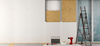 Renovation of an old house with plaster board and wood fiber panels - 3d rendering