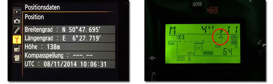 Displayansicht di-GPS Nikon D810
