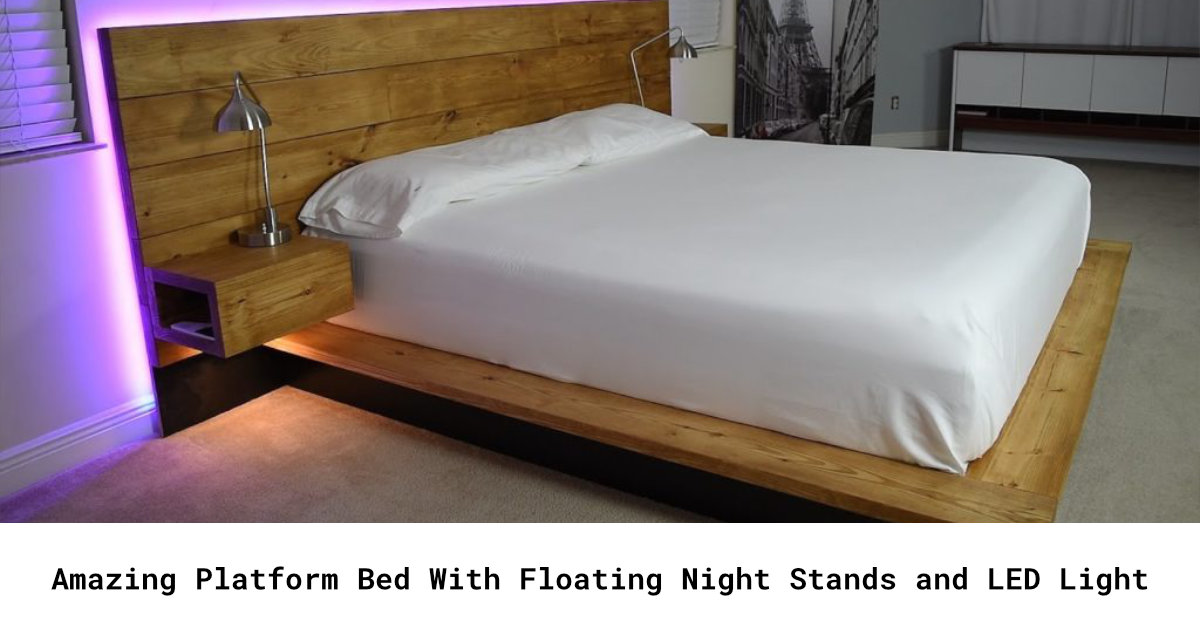 FB Amazing Platform Bed With Floating Night Stands and LED Light