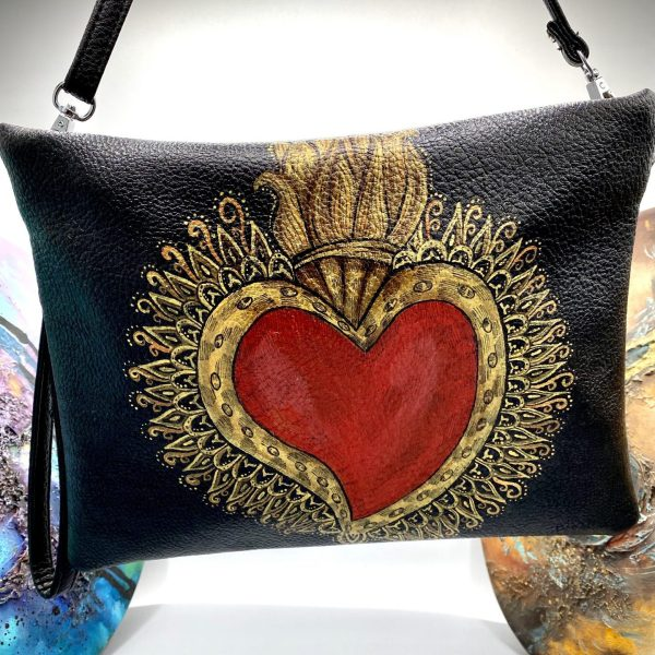 Sacred heart hand painted bag