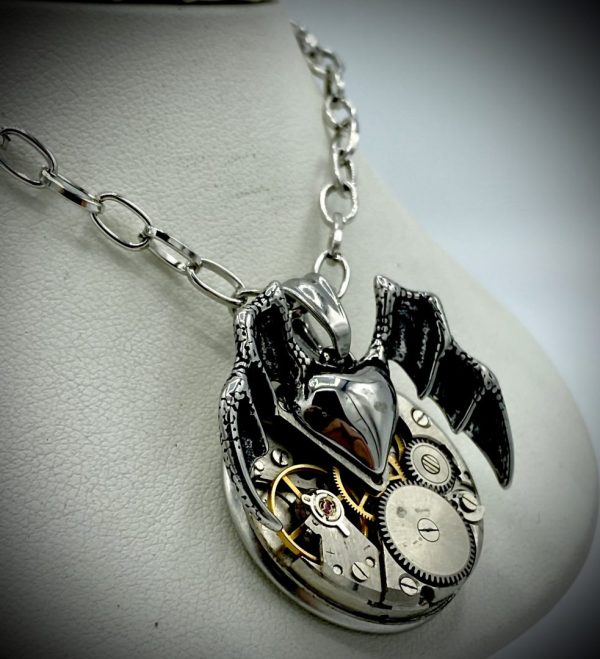 Bat Heart Necklace