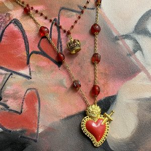 Sacred crowned heart necklace