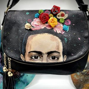 Frida Kahlo hand painted bag