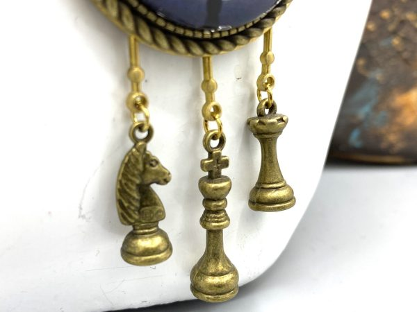 Cat Playing chess Necklace