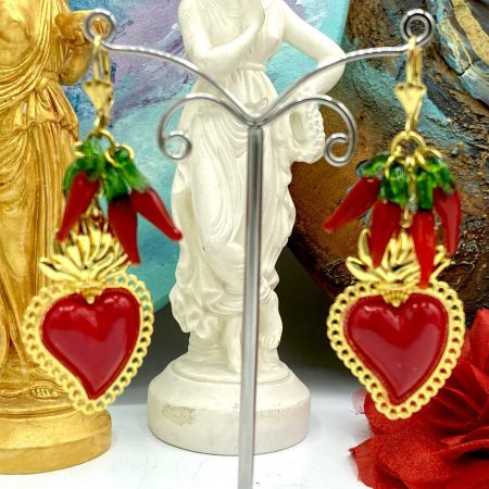 Sacred Heart Earrings with amulets